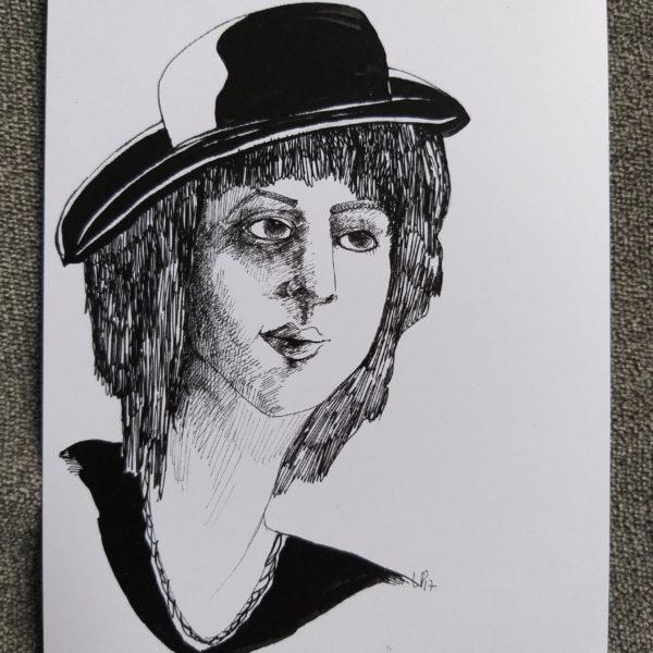 femme chapeau noir p.18
